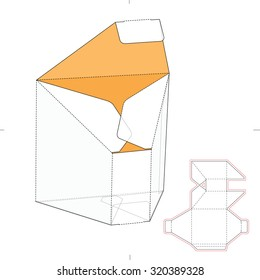 Tapered Prism Box with Die Cut Template