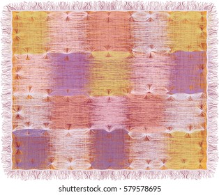 Tapestry with grunge striped weave square elements in pastel colors and fringe