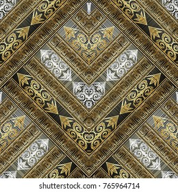 Tapestry modern seamless pattern. Grunge vector geometric background. Abstract embroidery oriental ornament with gold 3d stripes, frames, zigzag, meander, greek key. Embroidered baroque flowers