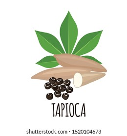 Tapioca plant icon with leaf and roots in flat style isolated on white background. Vector illustration.