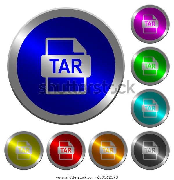 Tar File Format Icons On Round Stock Vector (Royalty Free