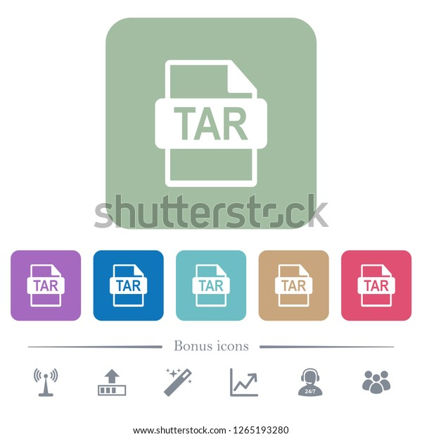 Tar File Format White Flat Icons Stock Vector (Royalty Free