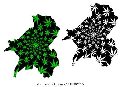 Taraba State (Subdivisions of Nigeria, Federated state of Nigeria) map is designed cannabis leaf green and black, Taraba map made of marijuana (marihuana,THC) foliage