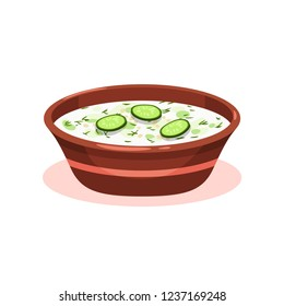 Tarator cold soup in a bowl, Bulgarian cuisine national food dish vector Illustration on a white background
