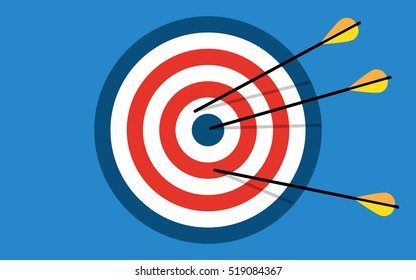 Target with 3 arrows. Dart arrow hitting center target on blue background, flat vector illustration