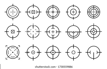 Target aim and aiming to bullseye signs symbol.Creative vector illustration of crosshairs icon set isolated on white background. Flat design.