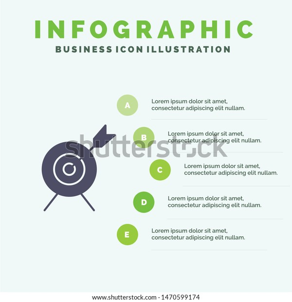 Target, Aim, Goal Solid Icon Infographics 5 Steps Presentation Background. Vector Icon Template background