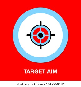 Target aim icon, vector target symbol - cross aim sign - target illustration