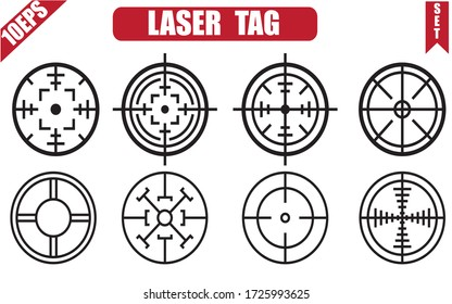 Target aim icons military set. Crosshair target weapon sniper army sight for gun or rifle.