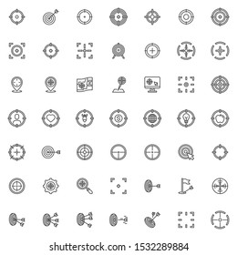 Target aim line icons set. linear style symbols collection, outline signs pack. vector graphics. Set includes icons as crosshair, archery arrow, focus frame, location targeting, sniper, center hit