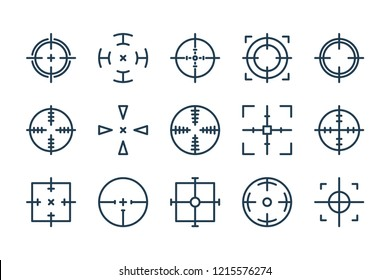Target Aim related line icon set. Shooting target vector icons.