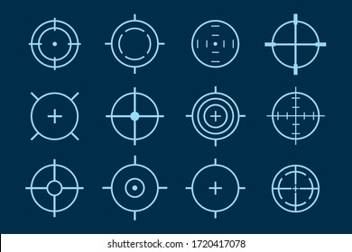 Target aim. Set of targets and destination. Focus icons. Vector