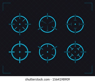 Target and aim, targeting and aiming. Gun targets, focus range indicators. Target icons set sniper scope symbol isolated on a grey background. Vector illustration for web design.