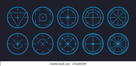 Target and aim, targeting and aiming. Set of aim target vector icons for web. Different icons set of goals and destination. Vector illustration 10 eps.