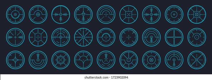 Target and aim, targeting and aiming. Sniper aim pointer. Focus sniper, sight military for shoot. Mark cursor, different focus military sight. Vector illustration in flat design, EPS 10.