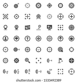 Target aim vector icons set, modern solid symbol collection, filled style pictogram pack. Signs, logo illustration. Set includes icons as crosshair, archery arrow, focus frame, location targeting