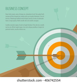 Target and arrow. Archery, darts game. Targeting. The exact shot on target. Business concept, goal achievement, success, winning. Flat style, vector illustration.