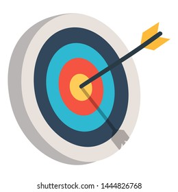 Target with an arrow flat icon concept market goal. Concept target market, audience, group, consumer. Bullseye or goal Isolated sign.