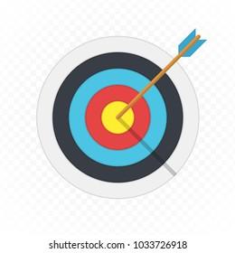 Target arrow flat icon. Arrow hitting target. Business concept.