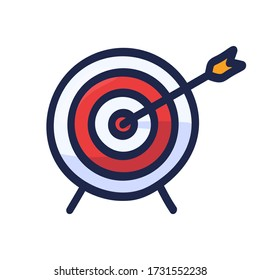 Target with arrow hand drawn outline doodle icon. Cartoon vector illustration