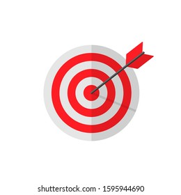 Target with an arrow hit the bull's eye in a flat. Perfect hit. Vector EPS 10