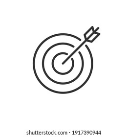 Target and arrow icon isolated on white background. Vector.