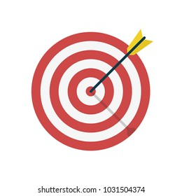 Target with arrow icon. Template design for competition winning, goal achievement, victory and business. Concept target market, audience, group, consumer. Vector illustration