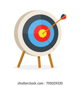 Target with arrow, standing on a tripod. Vector modern flat style cartoon illustration. Isolated on white background.Goal achieve,target concept