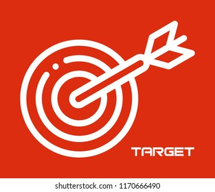 TARGET WITH ARROW SYMBOL VECTOR ICON