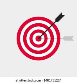 Target and arrow vector icon in trendy flat style. Business concept illustration. Success strategy design. EPS 10