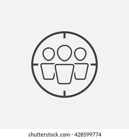 target audience line icon, outline vector logo illustration, linear pictogram isolated on white