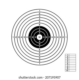 target with black and white color circles and different values, vector