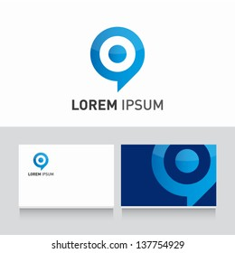 target bubble icon vector design elements with business card template editable