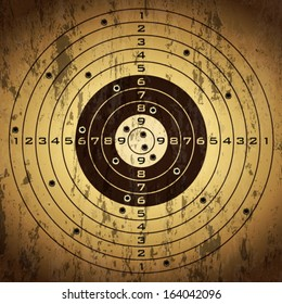 Target with bullet holes over grunge background. Vector illustration.