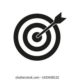 Target bullseye with arrow, black vector icon.