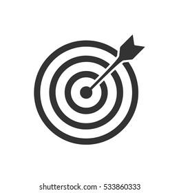 Target bullseye arrow icon flat. Illustration isolated on white background. Vector grey sign symbol