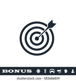 Target bullseye arrow icon flat. Black pictogram on white background. Vector illustration symbol and bonus button