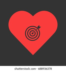 Heart bullseye images stock photos vectors shutterstock target bullseye arrow icon flat simple pictogram on heart background vector illustration symbol altavistaventures Image collections