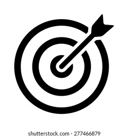 Target bullseye or arrow on target line art vector icon for apps and websites