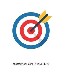 target, challenge, objective icon. competitive advantage symbol. successful shot in the darts target. isolated on white background. vector illustration