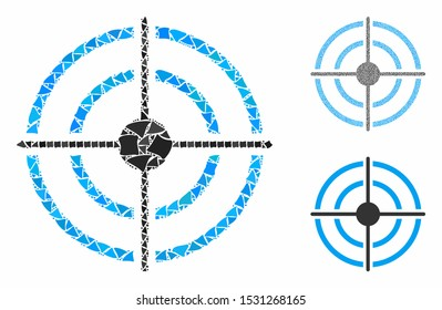 Target composition of tuberous parts in different sizes and shades, based on target icon. Vector tuberous elements are grouped into illustration. Target icons collage with dotted pattern.