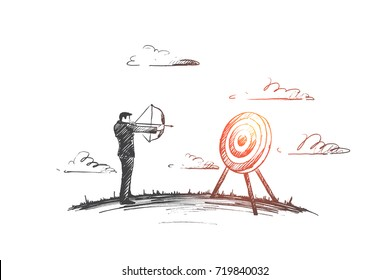 Target concept. Hand drawn man holding target with a dart in the center. Concept of objective attainment isolated vector illustration.