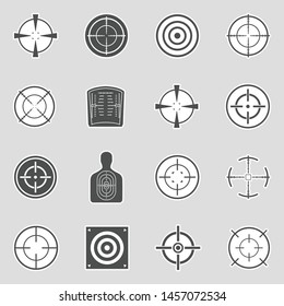 Target And Crosshair Icons. Sticker Design. Vector Illustration.