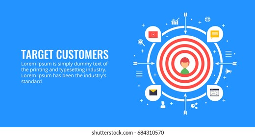 Target customer, audience engagement, target marketing flat design vector banner with icons isolated on blue background