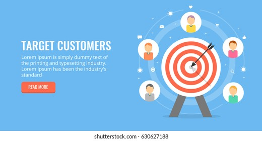 Target customers, audience outreach, sales generation, flat design vector concept isolated on blue background