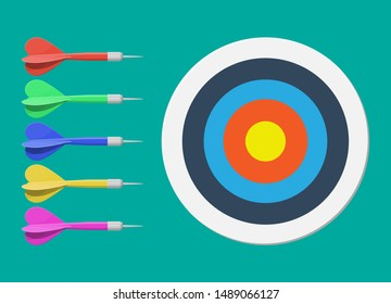 Target and dart arrow. Goal setting. Smart goal. Business target concept. Achievement and success. Vector illustration in flat style