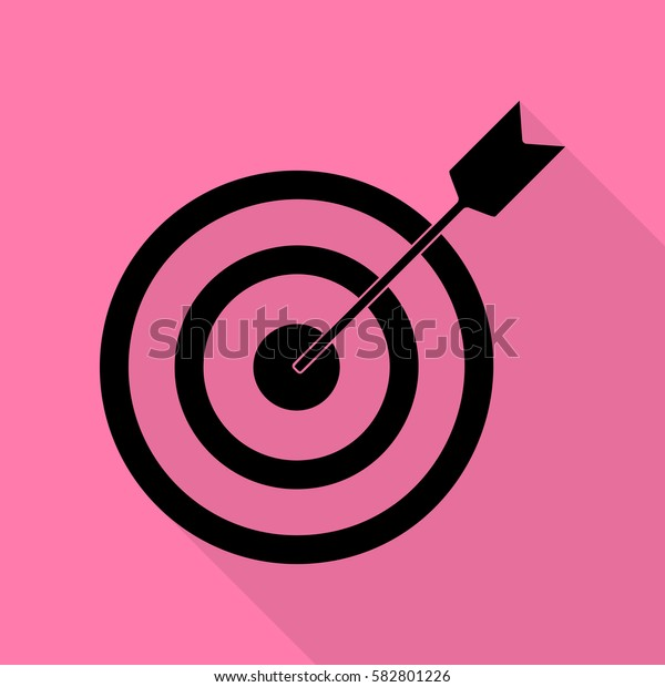 Target with dart. Black icon with flat style shadow path on pink background.
