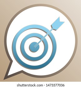 Target with dart. Bright cerulean icon in white speech balloon at pale taupe background. Illustration.