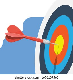 Target with dart in center. Goal setting. Smart goal. Business target concept. Achievement and success. Vector illustration in flat style