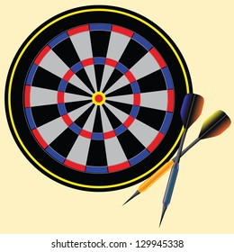 Target darts and arrows to play. Vector illustration.